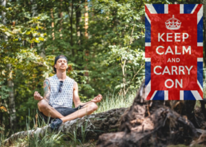 meditating in forest keep calm and carry on logo