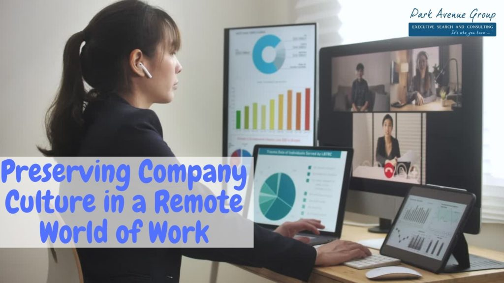 a women working from home and video chatting with her coworkers
