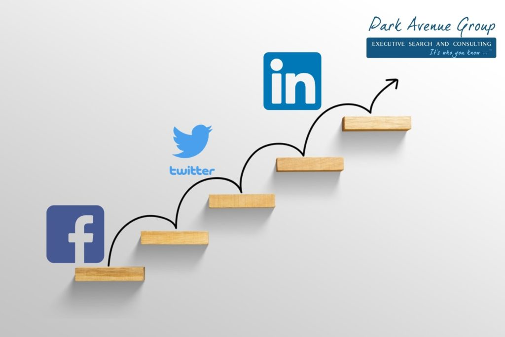 social media icons jumping on brown blocks that go up like stairs